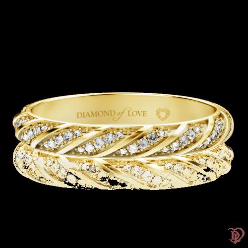 <p>Обручальное кольцо в желтом золоте со вставками: бриллианты</p>  0000574