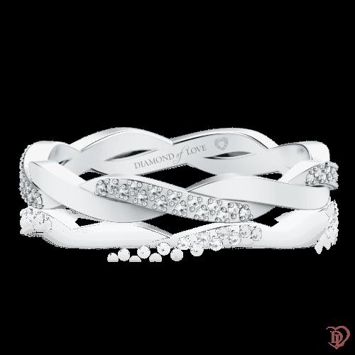 <p>Обручка в білому золоті зі вставками: діаманти</p>  0000593