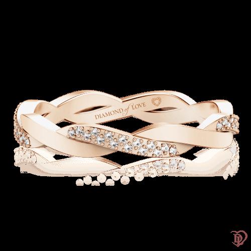 <p>Обручка в рожевому золоті зі вставками: діаманти</p>  0000597