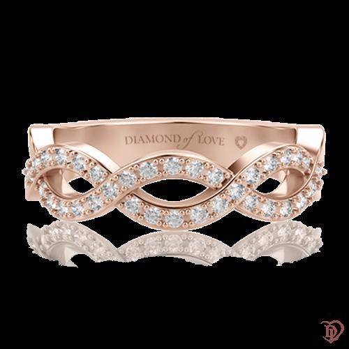 <p>Обручка в рожевому золоті зі вставками: діаманти</p>  0000617