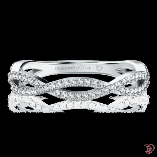 <p>Обручальное кольцо в белом золоте со вставками: бриллианты</p>  0000633