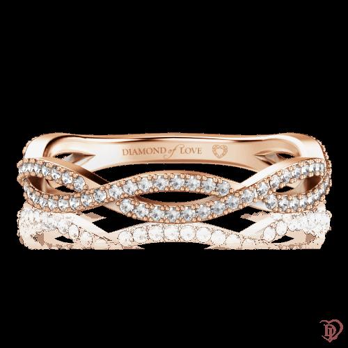 <p>Обручка в рожевому золоті зі вставками: діаманти</p>  0000637