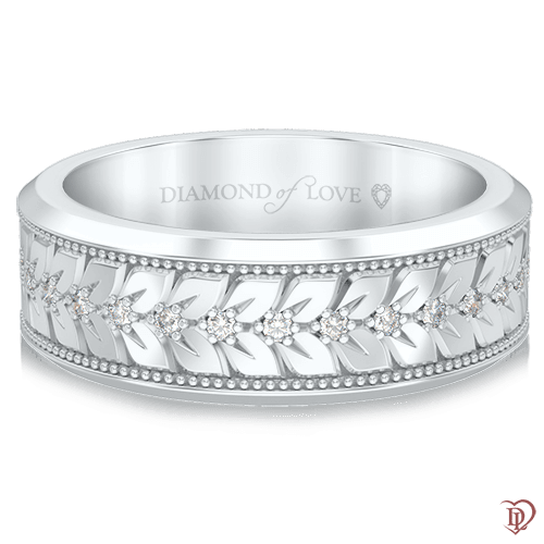 <p>Обручальное кольцо в белом золоте со вставками: бриллианты</p>  0000683