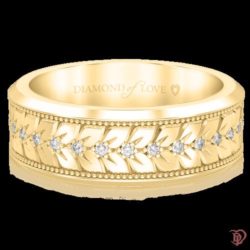 Обручальное кольцо в желтом золоте со вставками: бриллианты 0000684