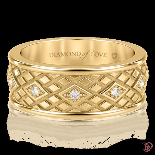 Обручальное кольцо в желтом золоте со вставками: бриллианты 0000704