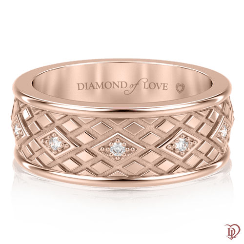 Обручальное кольцо в розовом золоте со вставками: бриллианты 0000707