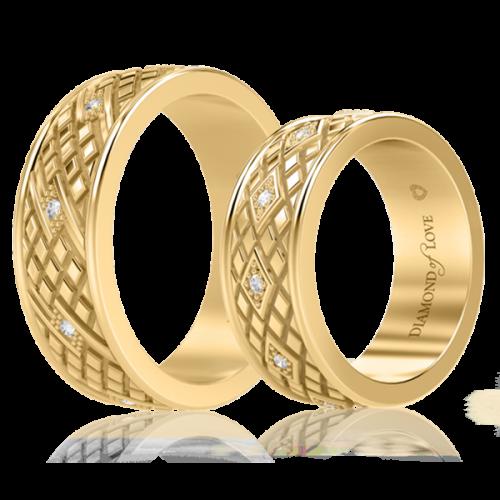 Обручальное кольцо в желтом золоте со вставками: бриллианты 0000714