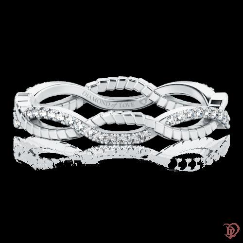 Обручальное кольцо в белом золоте со вставками: бриллианты 0000723
