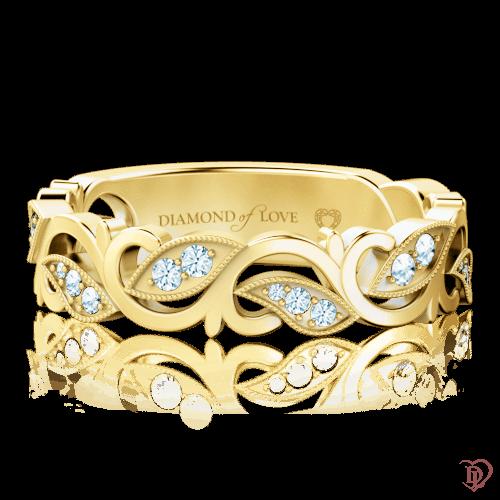 <p>Каблучка в жовтому золоті зі вставками: діаманти</p>  0000734