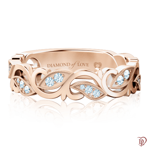 <p>Каблучка в рожевому золоті зі вставками: діаманти</p>  0000737