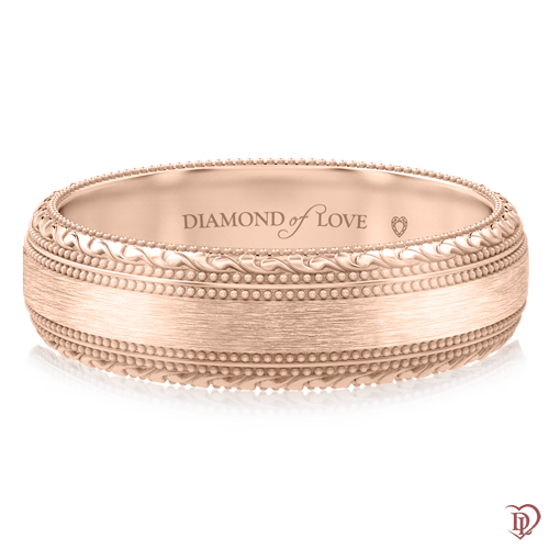 Обручальное кольцо в розовом золоте 0000757