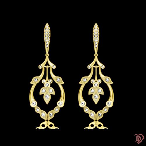 <p>Сережки в жовтому золоті зі вставками: діаманти</p>  0000784