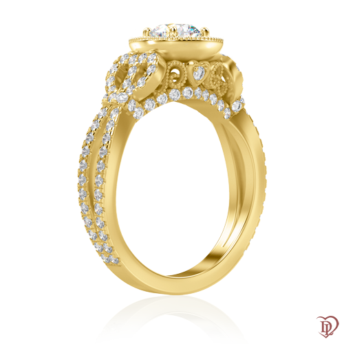 <p>Каблучка в жовтому золоті зі вставками: діаманти</p>  0000864