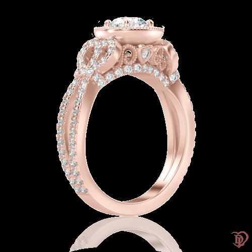 Кольцо в розовом золоте со вставками: бриллианты 0000867