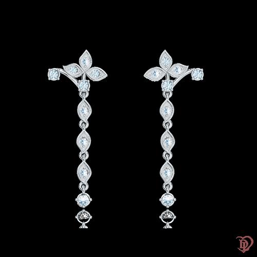 <p>Сережки в білому золоті зі вставками: діаманти</p>  0001093