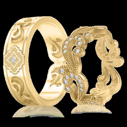 <p>Обручальное кольцо в желтом золоте со вставками: бриллианты</p>  0001104