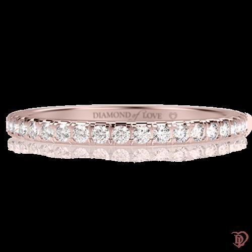 <p>Обручка в рожевому золоті зі вставками: діаманти</p>  0001257