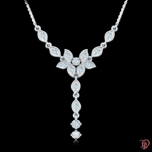 <p>Кольє&nbsp;в білому золоті зі вставками: діаманти</p>  0001303