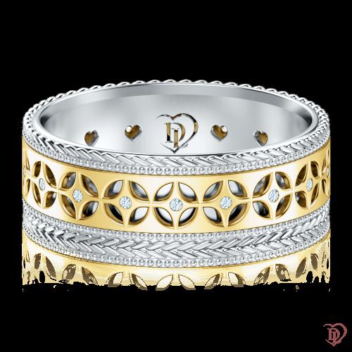 <p>Обручальное кольцо в желтом золоте со вставками: бриллианты</p>  0001324