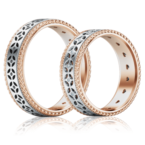 <p>Обручка в білому золоті зі вставками: діаманти, емаль</p>  0001333