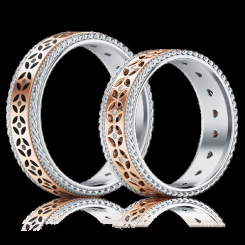 <p>Обручальное кольцо в розовом золоте со вставками: бриллианты, эмаль</p>  0001337
