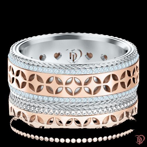<p>Обручальное кольцо в розовом золоте со вставками: бриллианты</p>  0001387