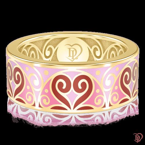 <p>Обручальное кольцо в желтом золоте со вставками: эмаль</p>  0001454