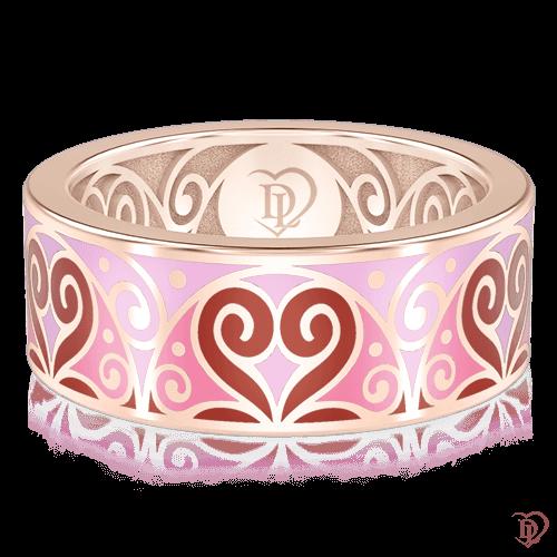 <p>Обручальное кольцо в розовом золоте со вставками: эмаль</p>  0001457