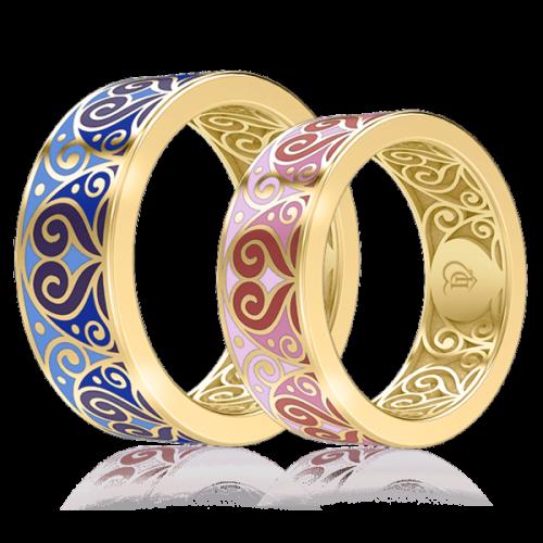 <p>Обручальное кольцо в желтом золоте со вставками: эмаль</p>  0001464