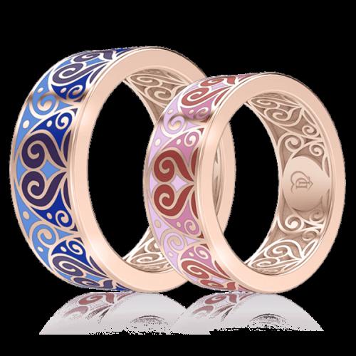 <p>Обручальное кольцо в розовом золоте со вставками: эмаль</p>  0001467