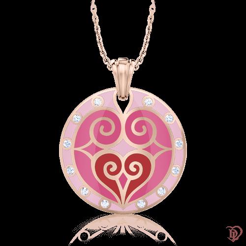 <p>Підвіс в рожевому золоті зі вставками: діаманти, емаль</p>  0002857