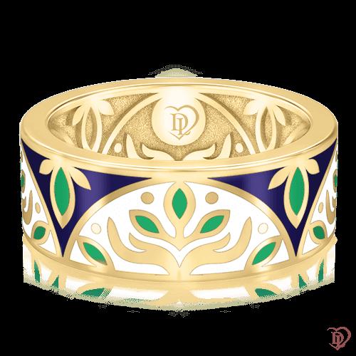 <p>Обручальное кольцо в желтом золоте со вставками: эмаль</p>  0002914