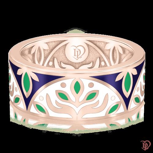 <p>Обручальное кольцо в розовом золоте со вставками: эмаль</p>  0002917