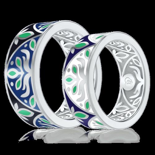 <p>Обручальное кольцо в белом золоте со вставками: эмаль</p>  0002923