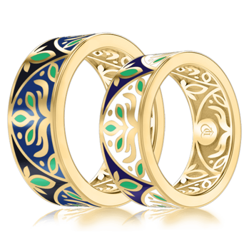 <p>Обручальное кольцо в желтом золоте со вставками: эмаль</p>  0002924