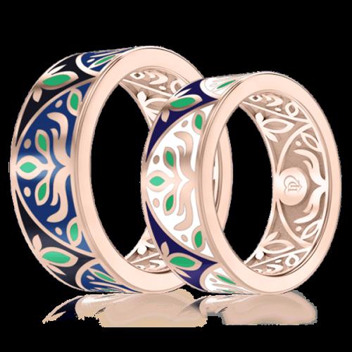 Обручка в розовому золоті зі вставками: эмаль 0002927