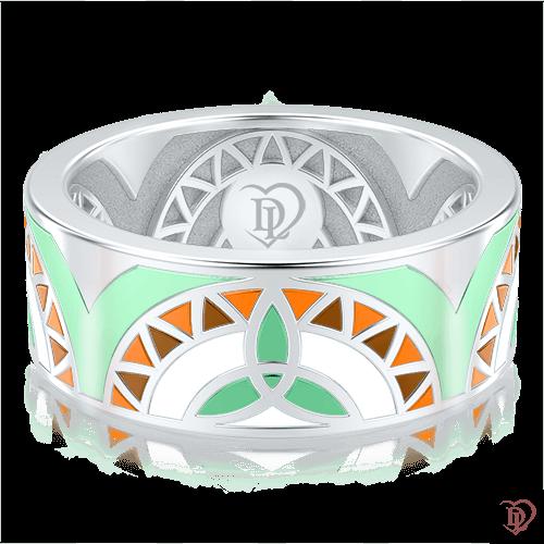<p>Обручальное кольцо в белом золоте со вставками: эмаль</p>  0002993