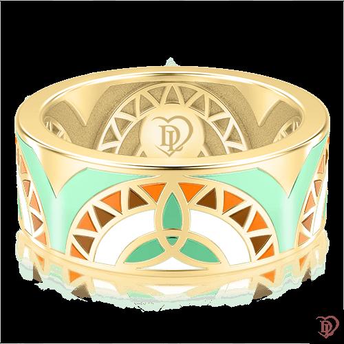 <p>Обручальное кольцо в желтом золоте со вставками: эмаль</p>  0002994