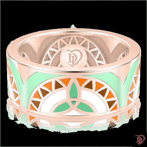 <p>Обручальное кольцо в розовом золоте со вставками: эмаль</p>  0002997