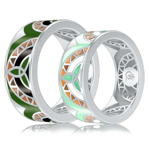 <p>Обручальное кольцо в белом золоте со вставками: эмаль</p>  0003003