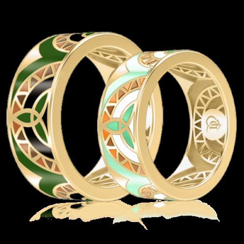 <p>Обручальное кольцо в желтом золоте со вставками: эмаль</p>  0003004