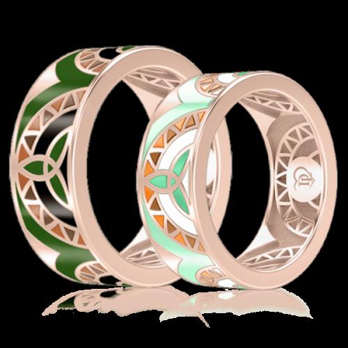 <p>Обручальное кольцо в розовом золоте со вставками: эмаль</p>  0003007
