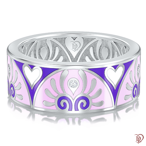 <p>Обручальное кольцо в белом золоте со вставками: бриллианты, эмаль</p>  0003033