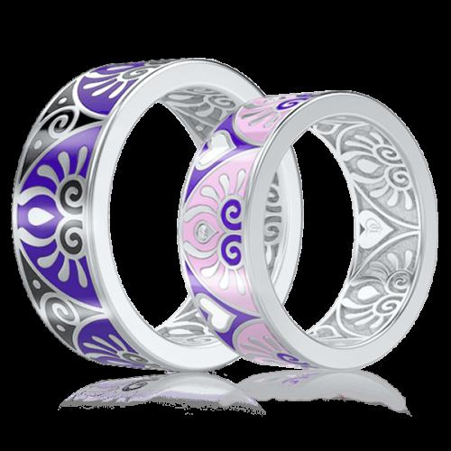 <p>Обручальное кольцо в белом золоте со вставками: эмаль</p>  0003043
