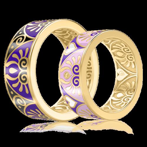 <p>Обручальное кольцо в желтом золоте со вставками: эмаль</p>  0003044