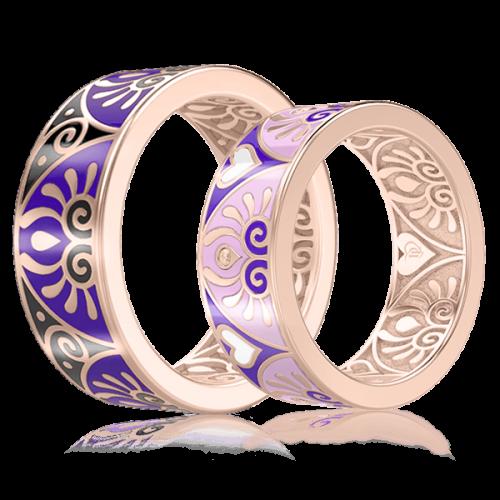<p>Обручка в рожевому золоті зі вставками: емаль</p>  0003047