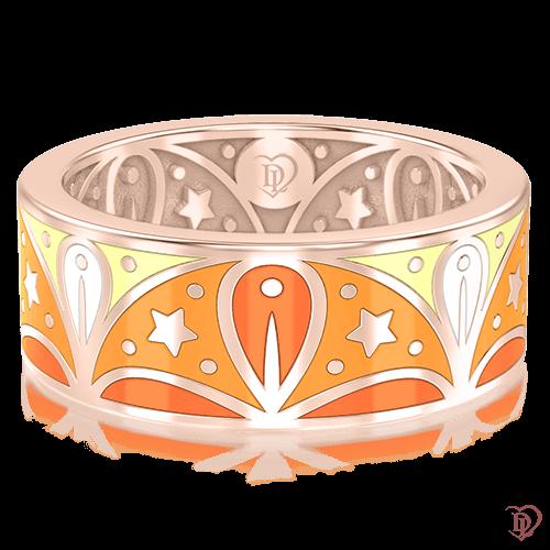<p>Обручальное кольцо в розовом золоте со вставками: эмаль</p>  0003067