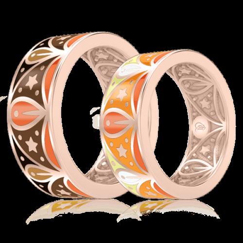 Обручальное кольцо в розовом золоте со вставками: эмаль 0003077