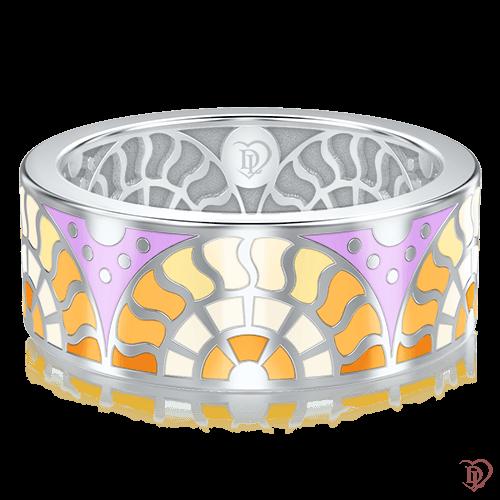 <p>Обручальное кольцо в белом золоте со вставками: эмаль</p>  0003093