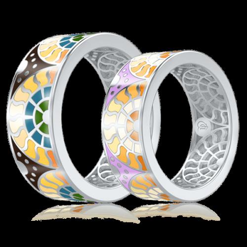 <p>Обручальное кольцо в белом золоте со вставками: эмаль</p>  0003103